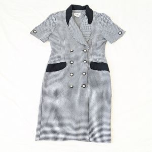 Vintage Checkered Button Down Suit-Dress